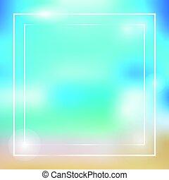 zomer, thema, vector, frame, kleurrijke