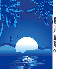 zomer, themed, tropische , zee