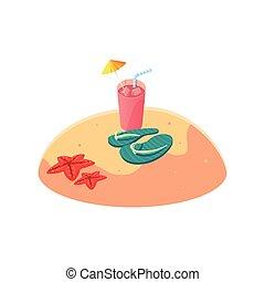zomer, tik, scène, zand, afgangen, strand