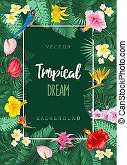 zomer, tropische , achtergrond, ontwerp