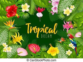 zomer, tropische , frame, ontwerp