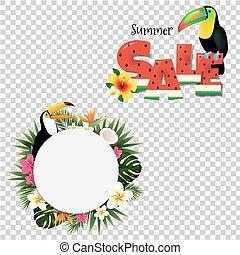 zomer, tropische , spandoek, met, toucans