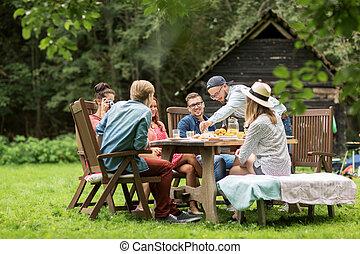 zomer, tuin, diner partij, vrienden, hebben, vrolijke