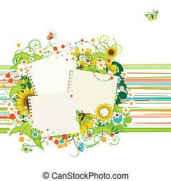 zomer, tussenvoegsel, tekst, zonnebloemen, of, foto's, lijstjes, jouw