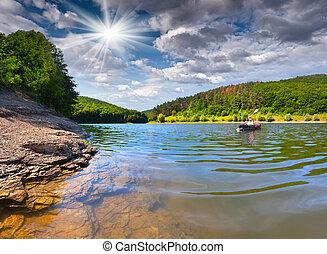 zomer, uitstapjes, op, de, rivier, door, kano