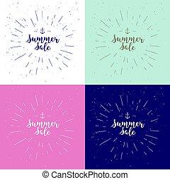 zomer, usable, lettering., aanplakborden, verkoop, calligraphic, typography., vector, affiches, achtergrond, getrokken, kaarten, frase, witte , sunburst., spandoek, set., signs., design.