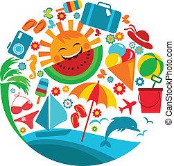 zomer, vacation;, mal, van, zomer, iconen