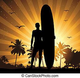 zomer vakantie, man, met, surfboard
