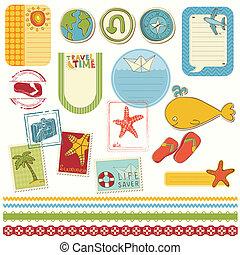 zomer vakantie, set, plakboek