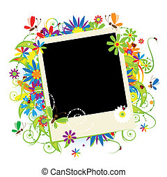 zomer vakantie, tussenvoegsel, jouw, foto, in, frame