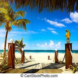 zomer, vakantiepark, strand