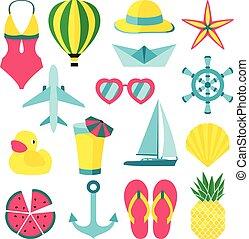 zomer, vector, illustratie, symbolen, voorwerpen, ans