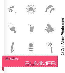 zomer, vector, set, iconen