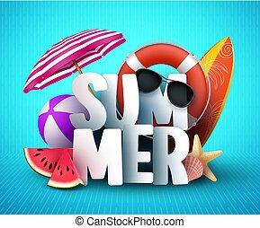 zomer, vector, spandoek, ontwerp, met, witte , 3d, tekst, titel