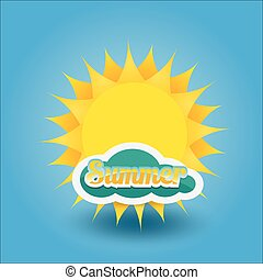 zomer, vector, sun., label., pictogram