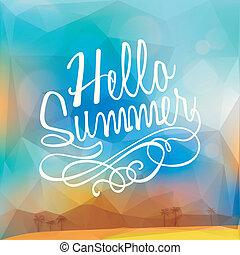 zomer, veelhoek, poster, abstract, achtergrond, vakantie