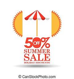 zomer, verkoop, 50, korting, met, paraplu