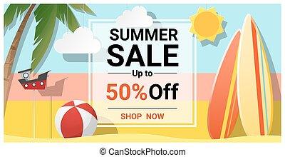 zomer, verkoop, achtergrond, met, kleurrijke, surfboards, 2