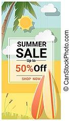 zomer, verkoop, achtergrond, met, kleurrijke, surfboards