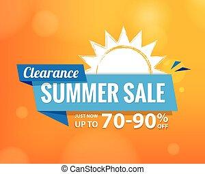 zomer, verkoop, bule, label, opschrift, ontwerp, op, sinaasappel, voor, spandoek, of, poster., verkoop, en, korting, concept., vector, illustration.