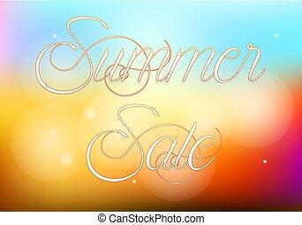 zomer, verkoop, illustratie, met, abstract, kleurrijke, achtergrond