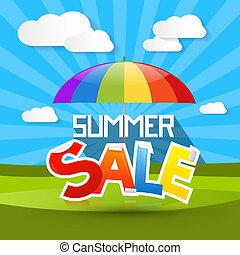 zomer, verkoop, illustratie, met, kleurrijke, parasol, -, paraplu, wolken, en, groen gras