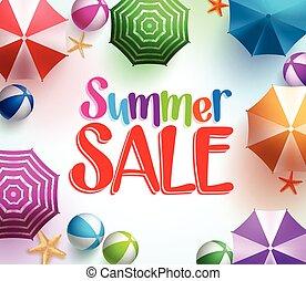 zomer, verkoop, in, kleurrijke, paraplu