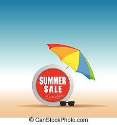 zomer, verkoop, in, leven, spaarder, met, paraplu kleur, illustratie