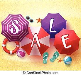 zomer, verkoop, kleurrijke, parasol