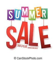 zomer, verkoop, kleurrijke, tekst, hangend