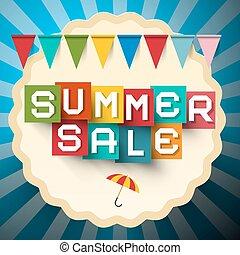 zomer, verkoop, label., kleurrijke, verkoop, title., papier, knippen, vector, zomer, verkoop, ontwerp, met, vlaggen, op, blauwe , achtergrond.