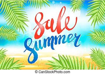 zomer, verkoop, lettering, op, blauwe , achtergrond., vector, illustratie, eps10