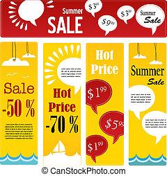 zomer, verkoop, markeringen, set, met, toespraak