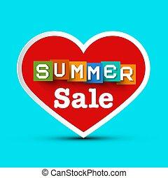zomer, verkoop, met, rood hart, -, vector