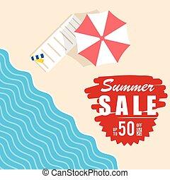 zomer, verkoop, met, strand, artikel, illustratie