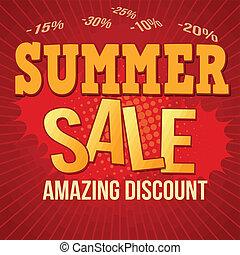 zomer, verkoop, ontwerp, poster