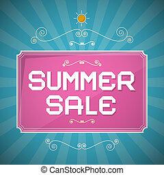 zomer, verkoop, papier, titel, op, abstract, blauwe achtergrond, met, ouderwetse , communie