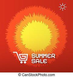 zomer, verkoop, papier, titel, op, abstract, rood, -, sinaasappel, en, gele achtergrond, met, zon, en, boodschappenwagentje, iconen
