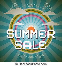 zomer, verkoop, retro, illustratie, met, regenboog, wolken, en, zon