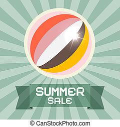 zomer, verkoop, retro, titel, met, bal