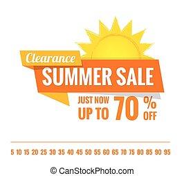 zomer, verkoop, sinaasappel, label, opschrift, ontwerp, op wit, voor, spandoek, of, poster., verkoop, en, korting, concept., vector, illustration.