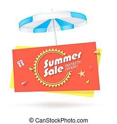 zomer, verkoop, spandoek, met, paraplu