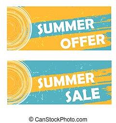 zomer, verkoop, vector, aanbod
