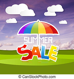zomer, verkoop, vector, illustratie, op, landscape, achtergrond