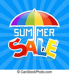 zomer, verkoop, vector, illustratie, op, retro, blauwe achtergrond