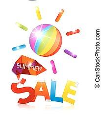 zomer, verkoop, vector, met, kleurrijke, zon, en, titel, op wit, achtergrond