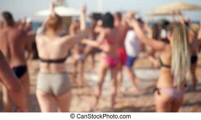 zomer, vertragen, relaxen, menigte, dancing, mensen,...