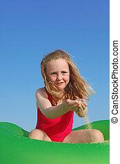 zomer, vrolijke , spelend, vakantie, kind