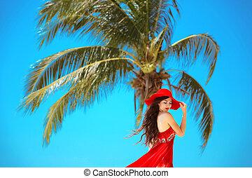 zomer, vrouw, beauty, enjoyment., vrijheid, op, outdoor., hemel, kosteloos, sun., hoedje, nature., meisje, het genieten van, concept., rood, vrolijke