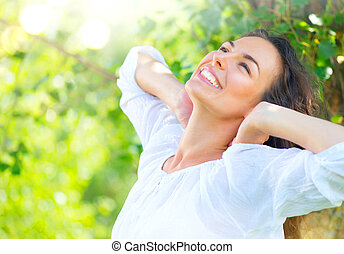 zomer, vrouw, beauty, natuur, park, jonge, het genieten van